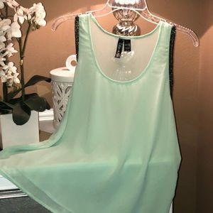 Fun & Flirt Tops - Mint Blouse with Silver Beads: Sleeveless🔥🔥